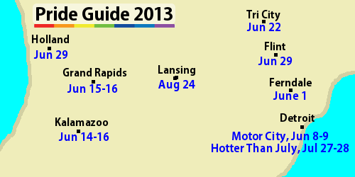 Pride Guide 2013, map with links to each citys pride event